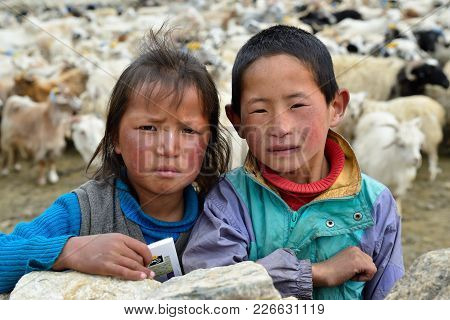 Tibet, Changtang, Ladakh, India - 06 July 2017: Portrait Of The Brother And Sister The Changpa Are A
