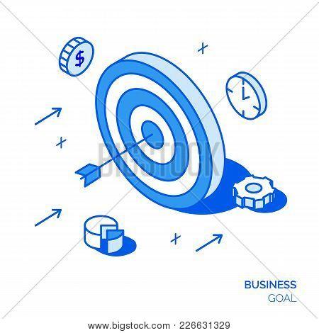 Isometric Business Goal Line Style Design Concept. Target Illustration