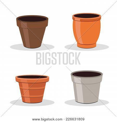 Set Of Four Flower Pots Isolated On White. Gardening Equipment. Terracotta Flower Pot Icons Or Illus