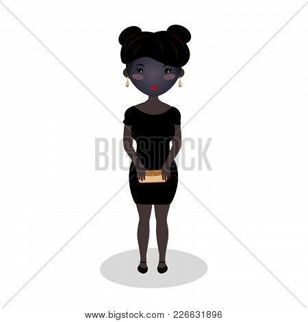 Smiling Girl Wearing A Little Black Dress. Evening Outfit. Elegant Mini. Afro American Woman. Specia