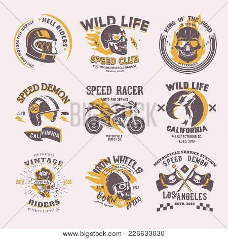 Biker Logo Vector Rider On Motorcycle Or Bike And Speed Motorcyclist Racer On Logotype Motor Emblem
