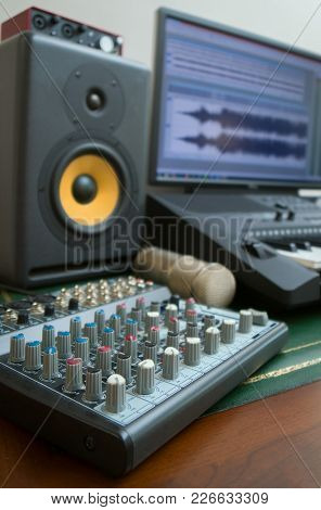 Mixer, Condenser Microphone And Professional Monitor. Concept Of Home Music Studio.