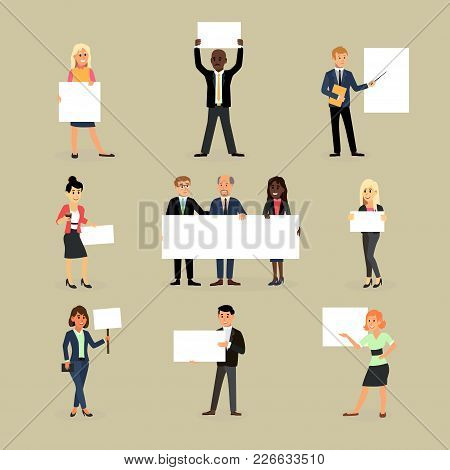 Businessman Holding Banner Vector Business Woman Character Holds White Banner Or Empty Poster Illust