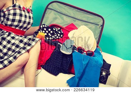 Packing Problems, Necessary Things During The Trip Concept. Woman Sitting On Sofa, Getting Ready For