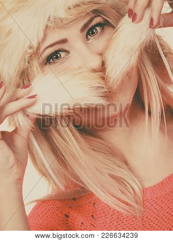 Outfit For Cold Days Ideas, Fashion And Clothing Concept. Attractive Smiling Blonde Woman Wearing Fu