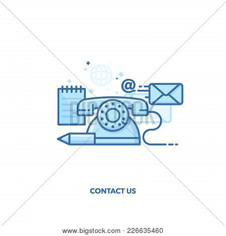 Contact Us Concept Design. Vector Line Design
