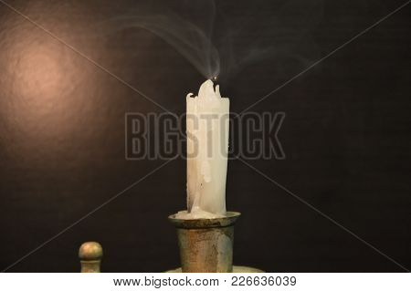 White Candles On A Black Table (blown)