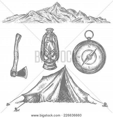 Camping Tent, Compass, Axe, Kerosene Lamp, Mountain, Adventure Retro Collection. Camping Vacation Ob