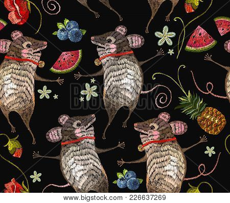 Embroidery Mouse Seamless Pattern. Two Cheerful Mice Are Danced In Flowers Classical Embroidery. Tem