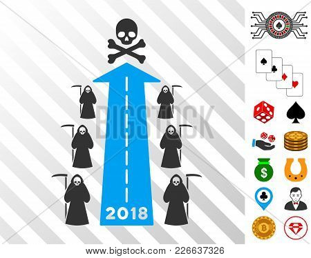 2018 Scytheman Future Road Pictograph With Bonus Gambling Icons. Vector Illustration Style Is Flat I
