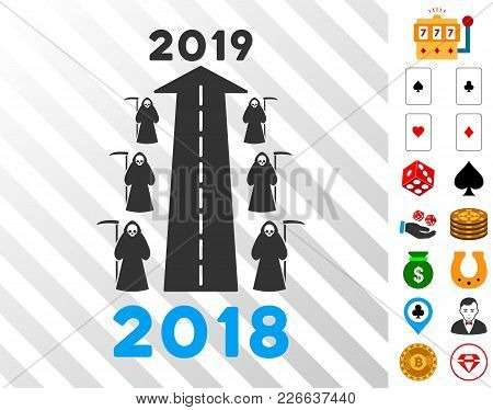 2019 Scytheman Future Road Pictograph With Bonus Gambling Clip Art. Vector Illustration Style Is Fla