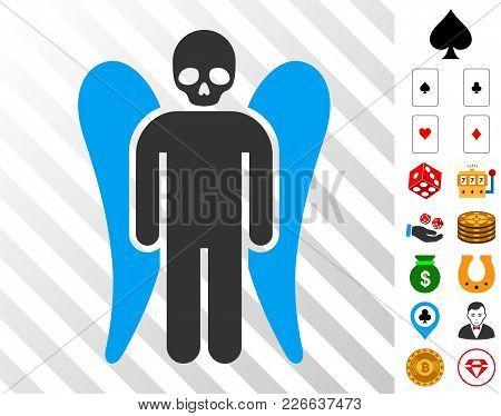 Death Angel Icon With Bonus Gamble Symbols. Vector Illustration Style Is Flat Iconic Symbols. Design