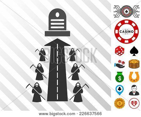 Fatal Road Icon With Bonus Gamble Clip Art. Vector Illustration Style Is Flat Iconic Symbols. Design