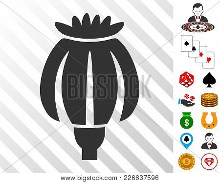 Opium Poppy Icon With Bonus Gambling Pictographs. Vector Illustration Style Is Flat Iconic Symbols.