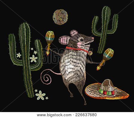 Embroidery Little Mouse Mexican Culture.  Classical Ethnic Embroidery Mouse In Sombrero, Mexican Art