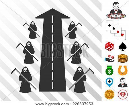 Scytheman Future Road Icon With Bonus Gamble Clip Art. Vector Illustration Style Is Flat Iconic Symb