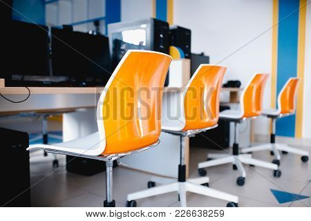 Workplace. Computer Chairs, Modern Classroom, Computers And Studio Equipment