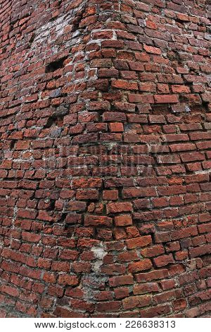 Old Red Brick Wall For Background Or Texture