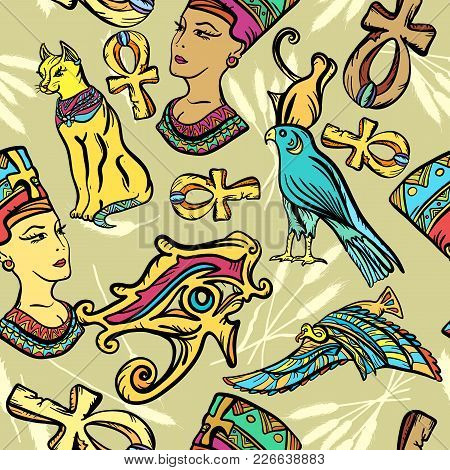 Ancient Egypt Art Pattern. Classic Flash Tattoo Style Egypt, Patches And Stickers. Ancient Egypt Sea