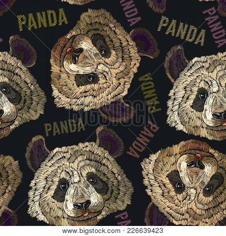 Embroidery Panda Head Seamless Pattern. Fashion Template For Clothes, Textiles, T-shirt Design. Clas