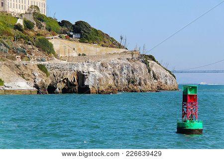 San Francisco. View On Prison Alcatraz. Alcatraz Island Background. Usa.