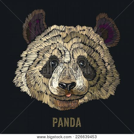 Panda Embroidery. Fashion Template For Clothes, Textiles, T-shirt Design. Classical Embroidery Portr