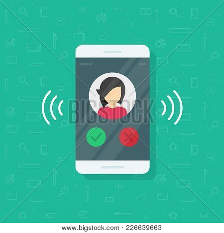 Smartphone Or Mobile Phone Ringing Vector Illustration, Flat Cartoon Cellphone Call Or Vibrate With