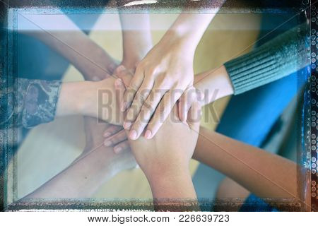 Teamwork Join Hands Partnership Concept .join Hands For Job Success, Symbolizing The Hands To Unity