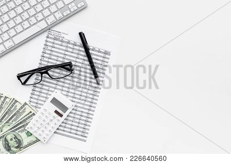 Pay Bills And Taxes. Papers, Calculator, Money On White Background Top View.