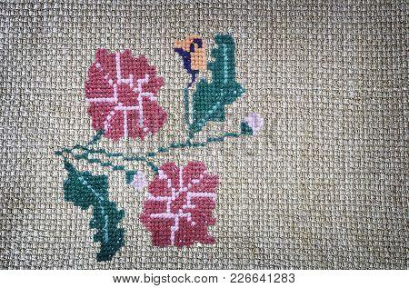Needlework: Embroidered Criss-cross Pattern Of Beautiful Flowers On Canvas. Handmade.