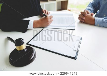 Judge Gavel With Legal Documents, Lawyer Consulting With Business Man