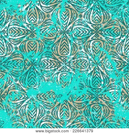 Geometric Grunge Pattern In Bright Colors On Colorful Hand Painted Background. Bold Print With Strip