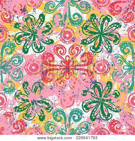 Vector Floral Grunge Pattern On Splash And Splatters Of Watercolor Paint. Bold Ethnic And Tribal Pri