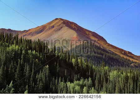 A Colorful Mountain Peak Above The Timber Line In Colorado.