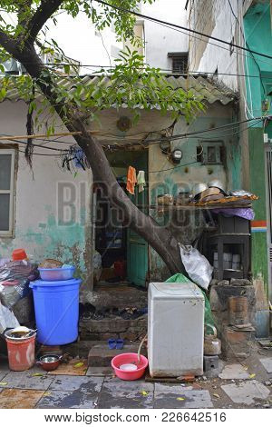 A Small House Down A Back Alley In The Old Quarter Of Hanoi, Vietnam