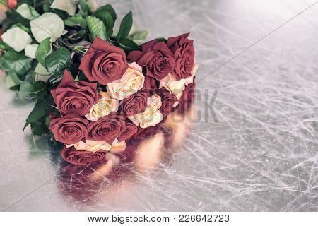 Bouquet Of Roses Of Pastel Toned Colors For Beloved, Symbol Of Love, Romantic Celebrations