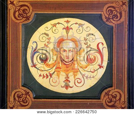 Rome, Italy - July 15, 2017: Part Of Medieval Ornamental Painting In Vatican Museum, Rome, Italy