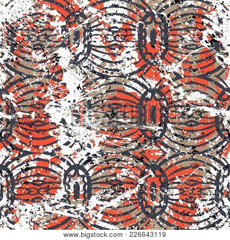 Geometric Grunge Pattern In Bright Red Colors On Colorful Hand Drawn Background. Bold Print With Str
