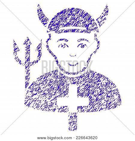 Grunge Satan Priest Rubber Seal Stamp Watermark. Icon Symbol With Grunge Design And Dust Texture. Un