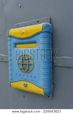 Ekaterinburg, Russian Federation - February 11, 2018: Cute Yellow-blue Mailbox On The Door Of The Ho