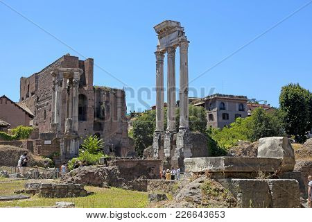 Rome, Italy - July 17, 2017: The Ancient Ruins Of The Roman Forum, Rome, Italy. Roman Forum Is One O