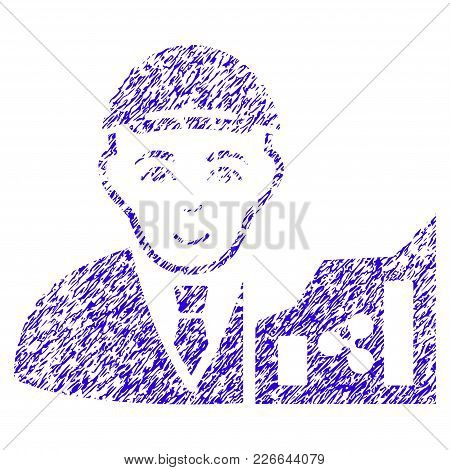 Grunge Ripple Trader Rubber Seal Stamp Watermark. Icon Symbol With Grunge Design And Dust Texture. U