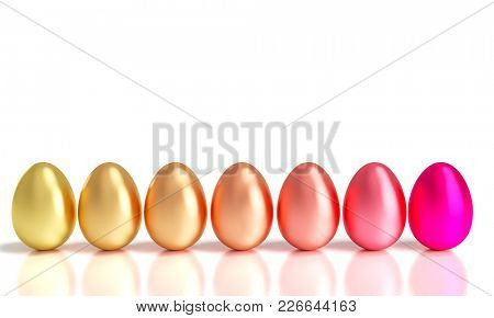 gradation of easter golden eggs 3d rendering image