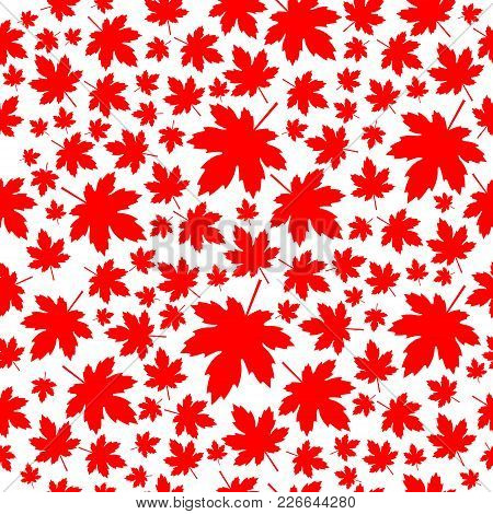 Red Maple Leaves Seamless Patern. Vector Illustration.