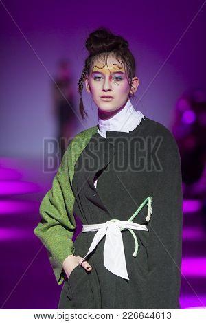 Kyiv, Ukraine - February 7, 2018: Model Walks The Runway At Sistan Varvara Collection Show During Uk