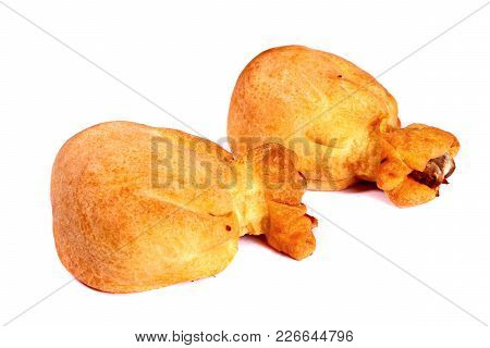 Baked Chicken Legs Isolated Over White Background