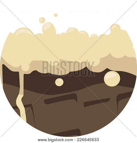 Melted Ice Cream On Chocolate Wafer Cone : Vector Illustration