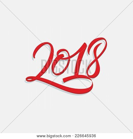 Hand Drawn Lettering 2018 Red Numbers Design With Shadow On Light Background Vector Illustration.
