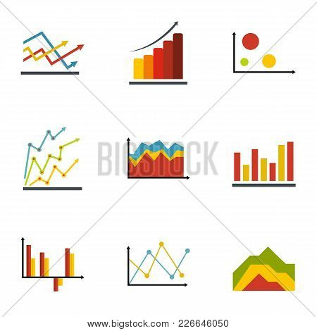 Economic Table Icons Set. Flat Set Of 9 Economic Table Vector Icons For Web Isolated On White Backgr