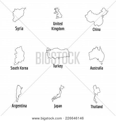 Host Nation Icons Set. Outline Set Of 9 Host Nation Vector Icons For Web Isolated On White Backgroun